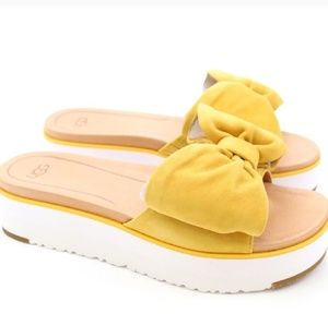 f76a1f1534b UGG Joan Sunflower Bow Suede Sandals